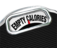 Empty calories written on weighing scales