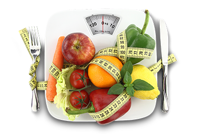 Fruit and vegetables on weighing scales