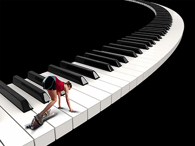 Runner on a piano keyboard