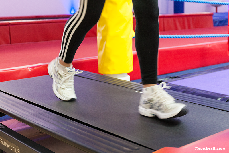 Closeup of someone using a treadmill